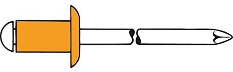 Kapara kniedes ar tērauda naglu